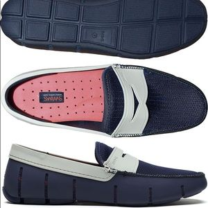 SWIMS Penny Loafer Boat Shoes Navy & Light Gray